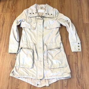 Aritzia Community Cream Long Trench Utility Jacket